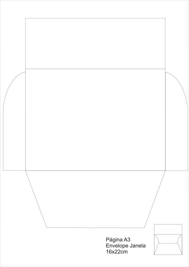 Moldes de Envelopes para convites - Modelo Janela