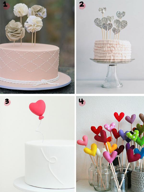 Topos de bolo de corações e feltro
