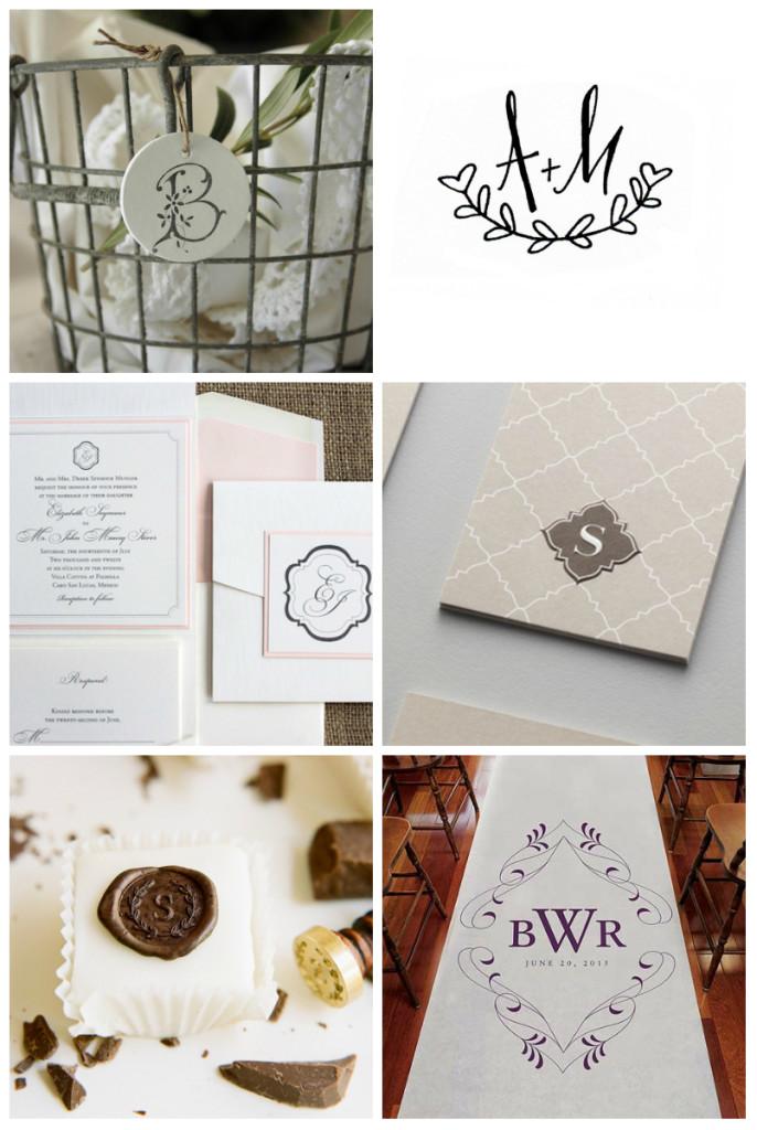 Exemplos de utilização de Monogramas em casamentos