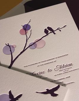 Arte de convite de casamento ou noivado de passarinhos