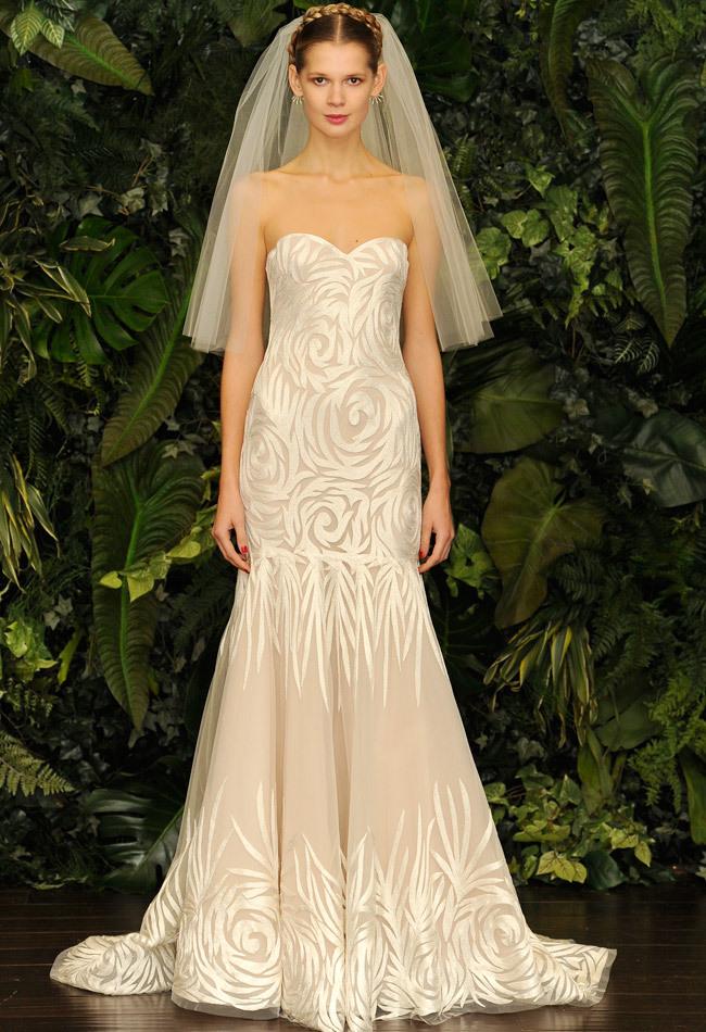 Vestido de Noiva Sereia com Textura de Flores - Naeem Kahn