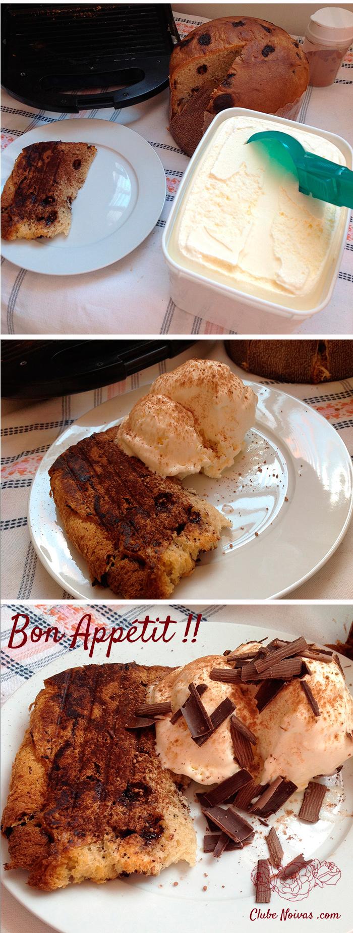 Sobremesa de panetone e sorvete - receita