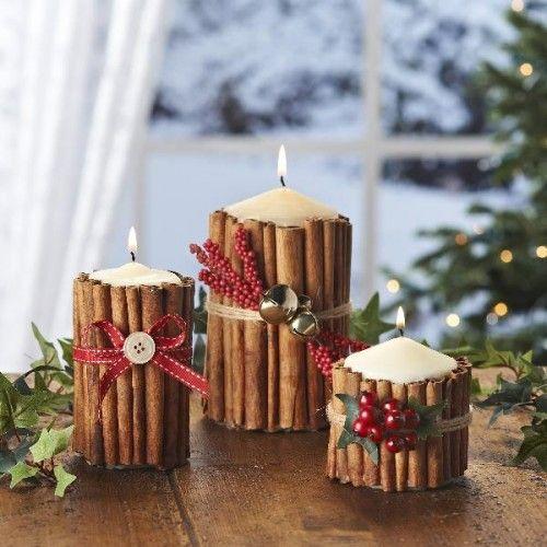 Velas decoradas com Canelas - Arranjos para Natal
