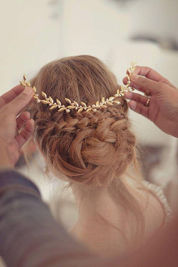 arranjo para noivas folhas douradas