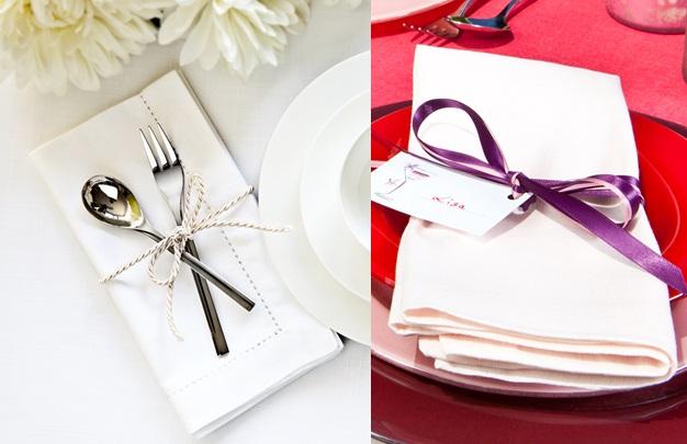 laços no guardanapo para decorar a mesa do casamento