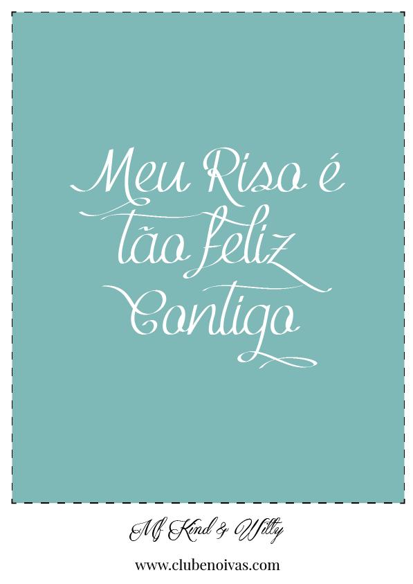 Quadros com Frases de Amor - Ilustrações - Clube Noivas - Meu riso é tão feliz contigo