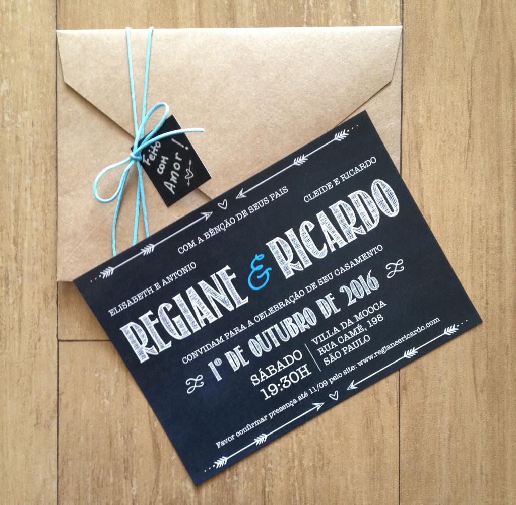 Convite de Casamento no estilo Chalkboard - Quadro Negro