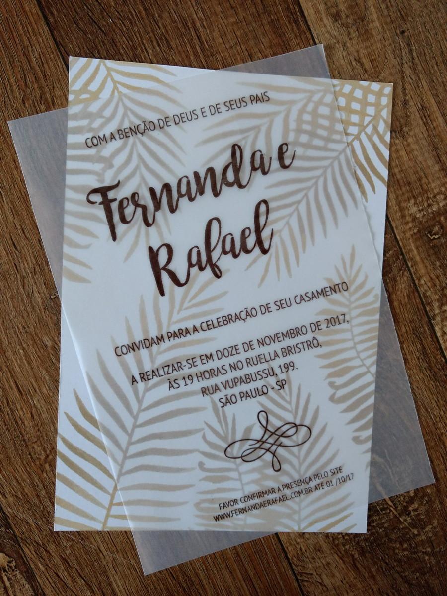Diy Convite De Casamento Em Papel Vegetal Clube Noivas