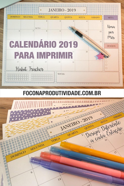 Calendário 2019 para Imprimir - Download Grátis - Foco na Produtividade
