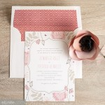 Convite de Casamento com Borda Floral