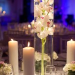 centro de mesa com orquídea mergulhada