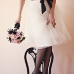 vestido de noiva curto -branco e preto