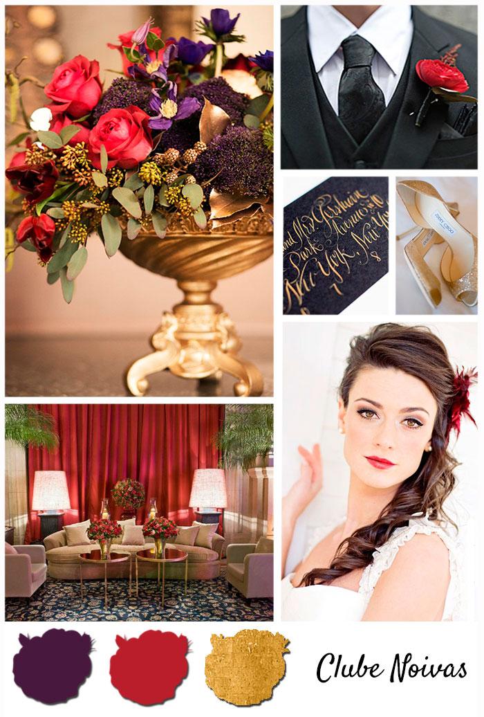 Quadro de Inspiração para Casamento Vermelho, Violeta e Dourado - Paleta de Cores do Casamento