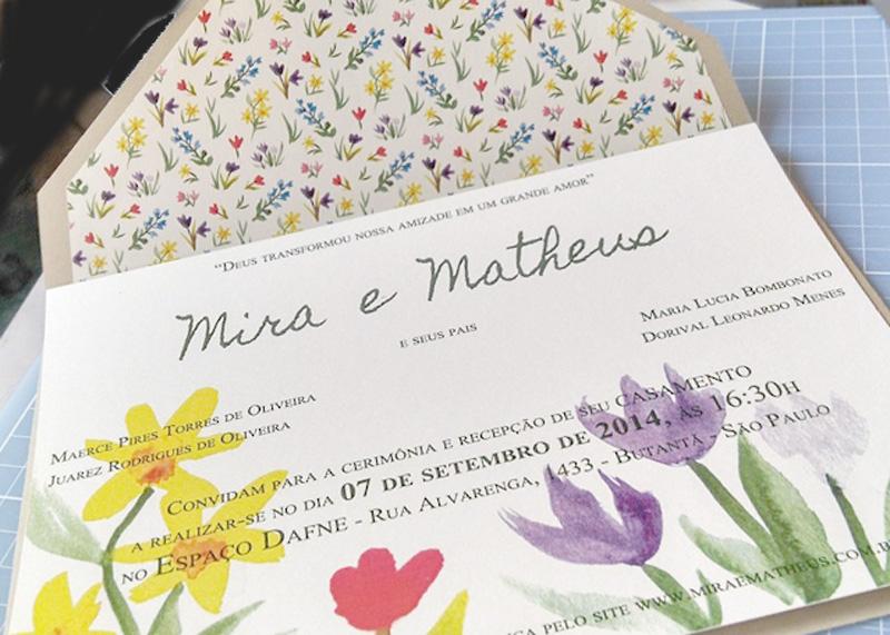convite de casamento feito em casa-Aquerela Mira e Matheus