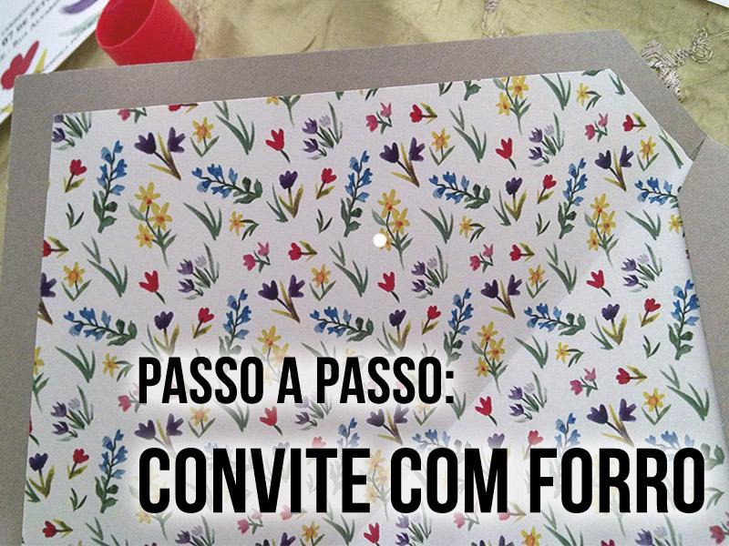 Convite de Casamento com Forro - Estampas de flores