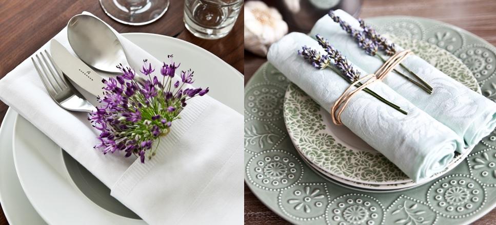 Flores no Guardanapo - decorar a mesa do casamento