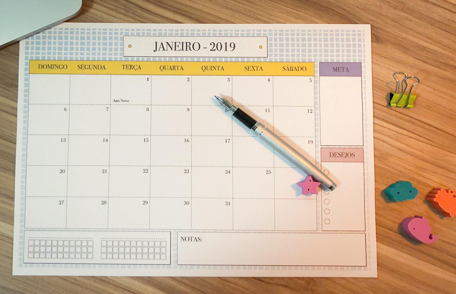 calendário 2019 para imprimir - foco na produtividade
